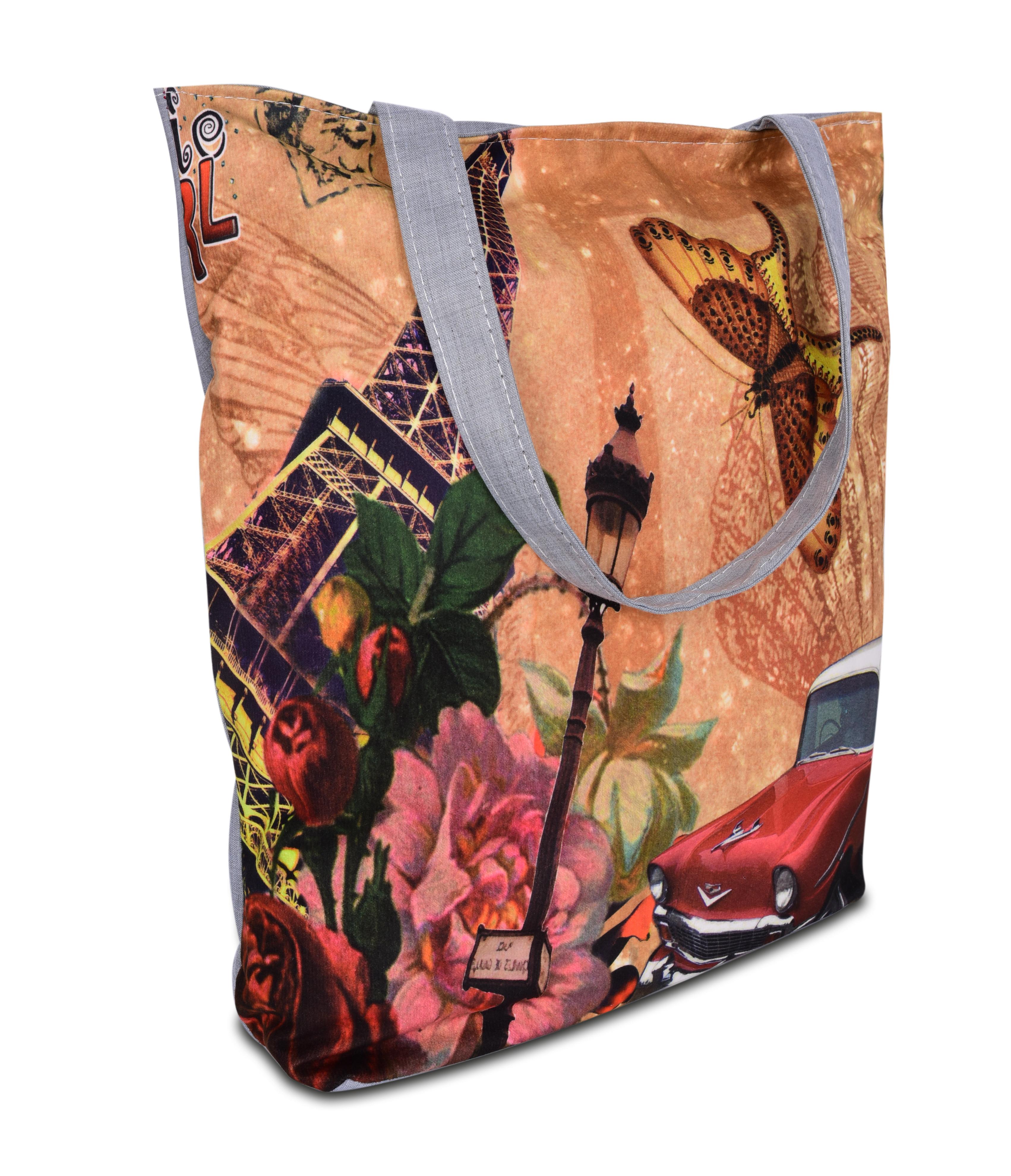 Elegantní taška textilní Eiffel butterfly