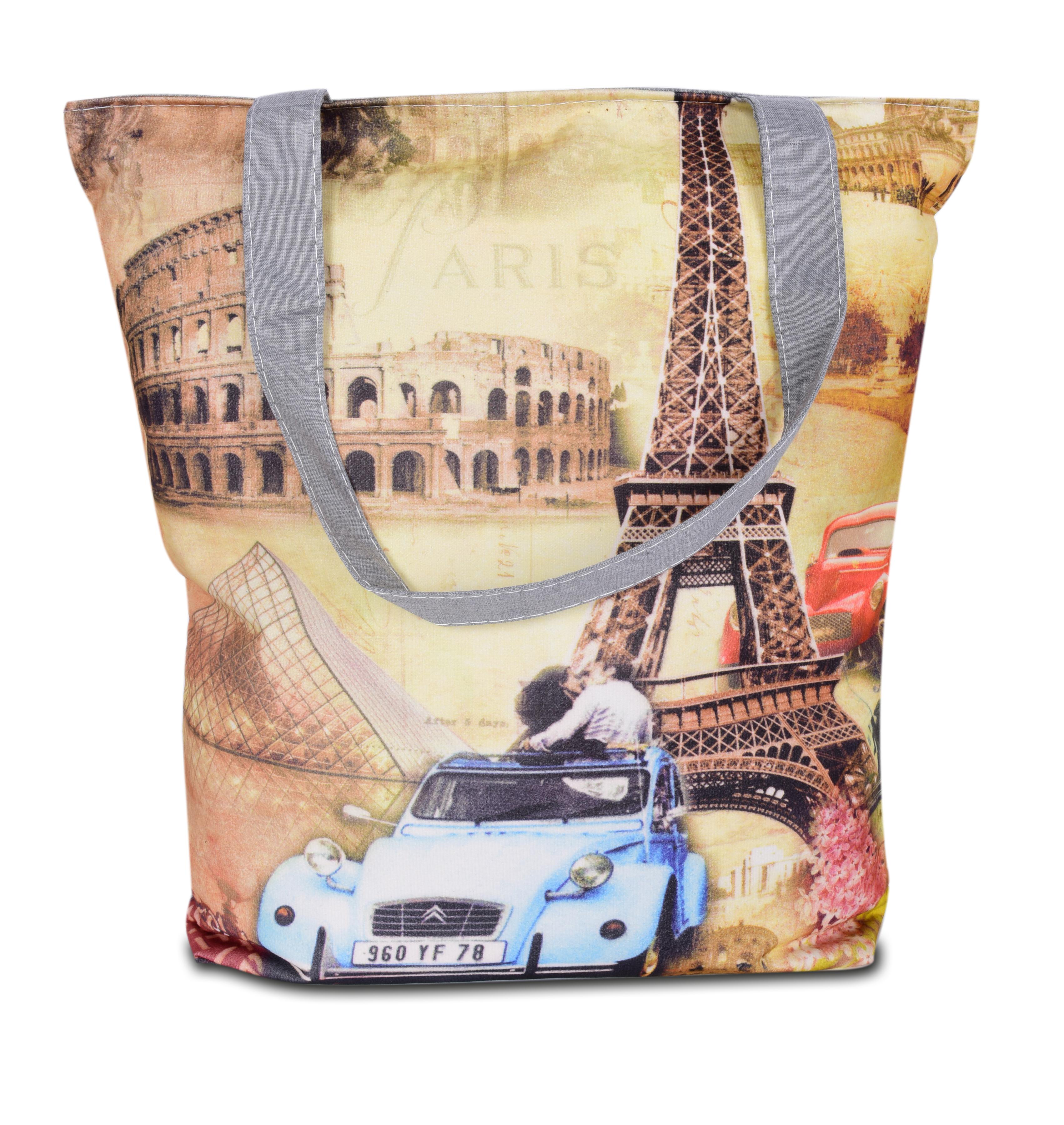 Elegantní taška textilní Eiffel blue car
