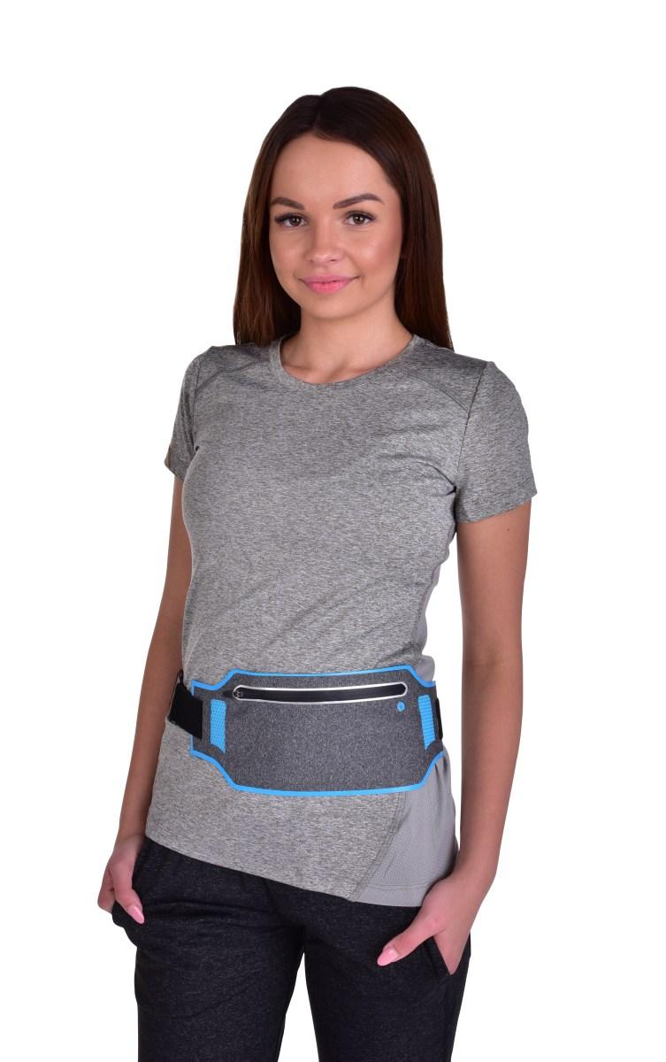 Sportovní pouzdro kolem pasu UNIVERSAL SLIM, elastické s kapsou na zip a reflexními prvky
