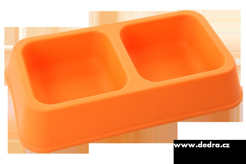 Silikonová dvojmiska pro zvířecí mazlíky oranžová, 2x450 ml