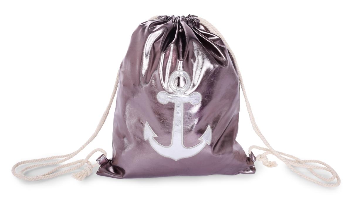 METALIC BAG pytel na záda z lesklé ekokůže silver