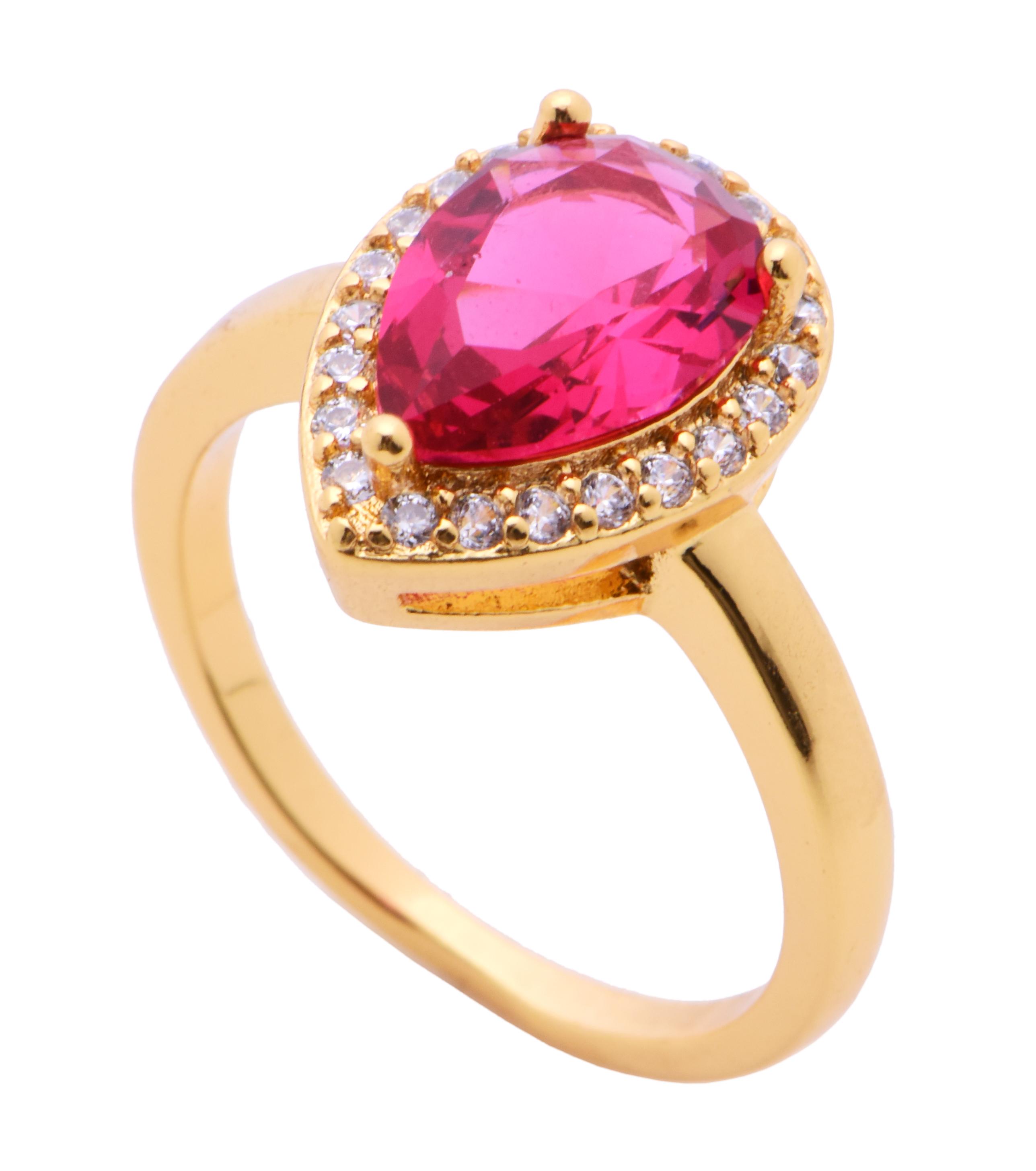 Prstensezirkony pozlaceno 24 Kt. barva rubínu 2(vel.7)