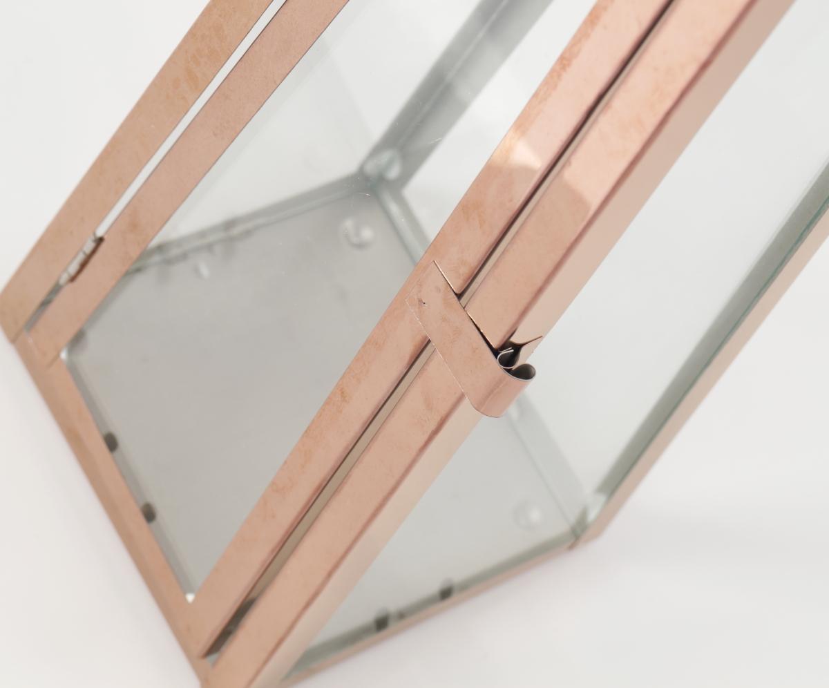 FC182512-Nerezová lampáš v medenej farbe so sklenenou výplňou