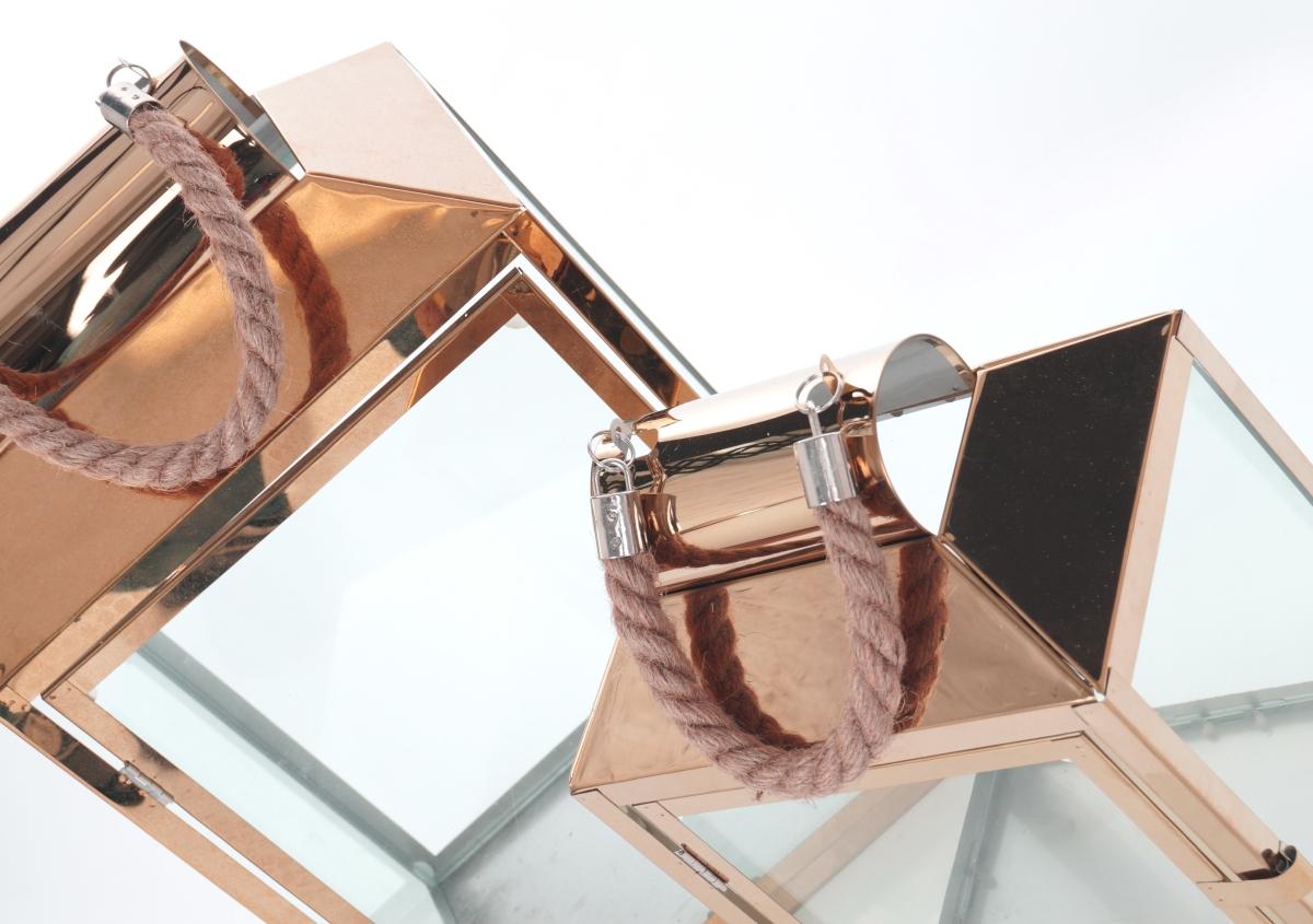 FC183111-Nerezová lampáš v medenej farbe so sklenenou výplňou