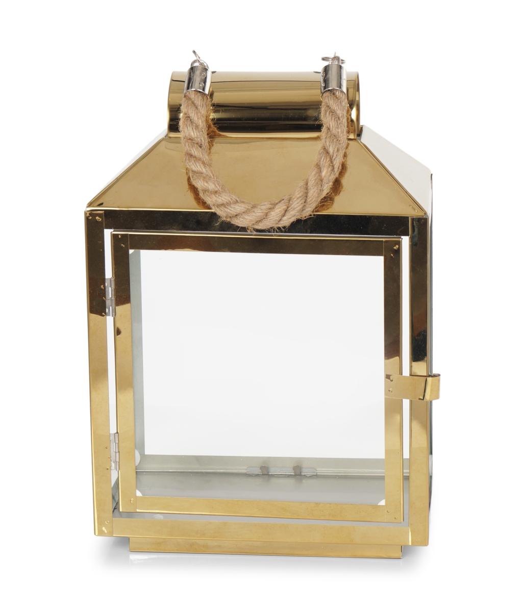 Nerezová lucerna 30 cm ve zlaté barvě se skleněnou výplní