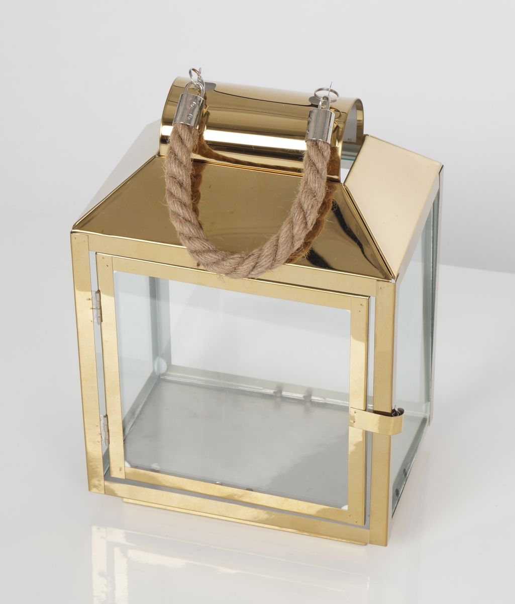FC183011-Nerezová lampáš v zlatej farbe so sklenenou výplňou