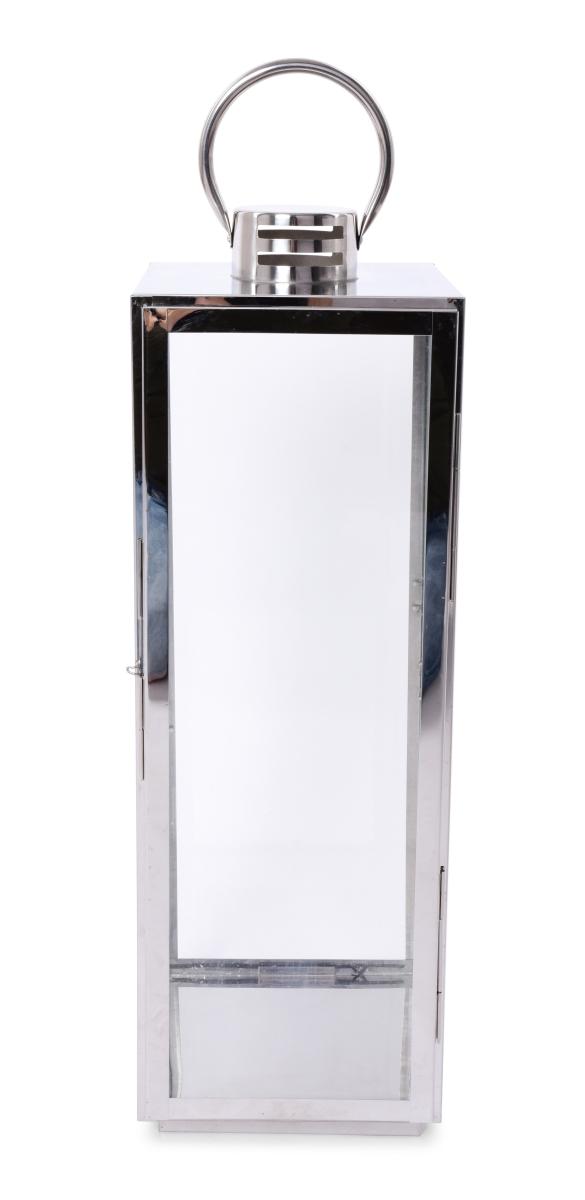 Nerezová lucerna ve stříbrné barvě se skleněnou výplní