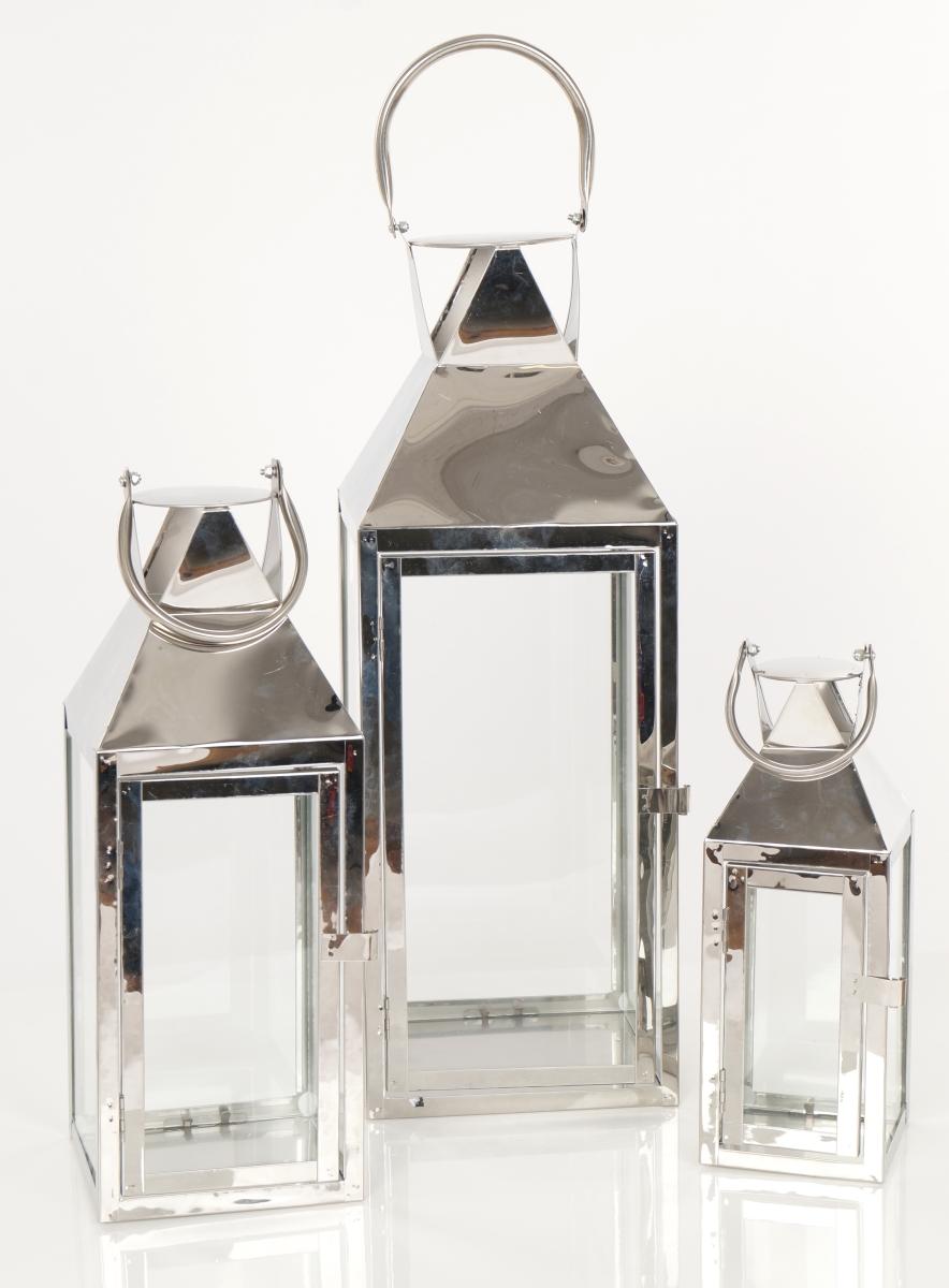 FC182711-Nerezová lampáš v striebornej farbe so sklenenou výplňou