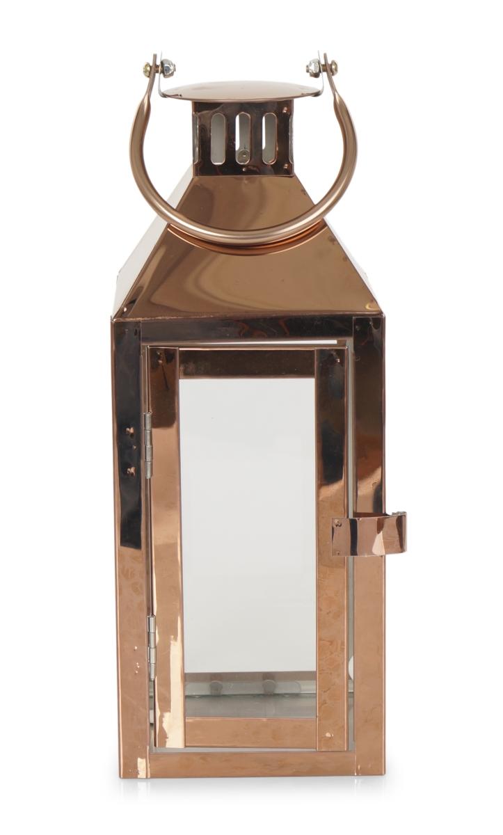 Nerezová lucerna v měděné barvě  se skleněnou výplní