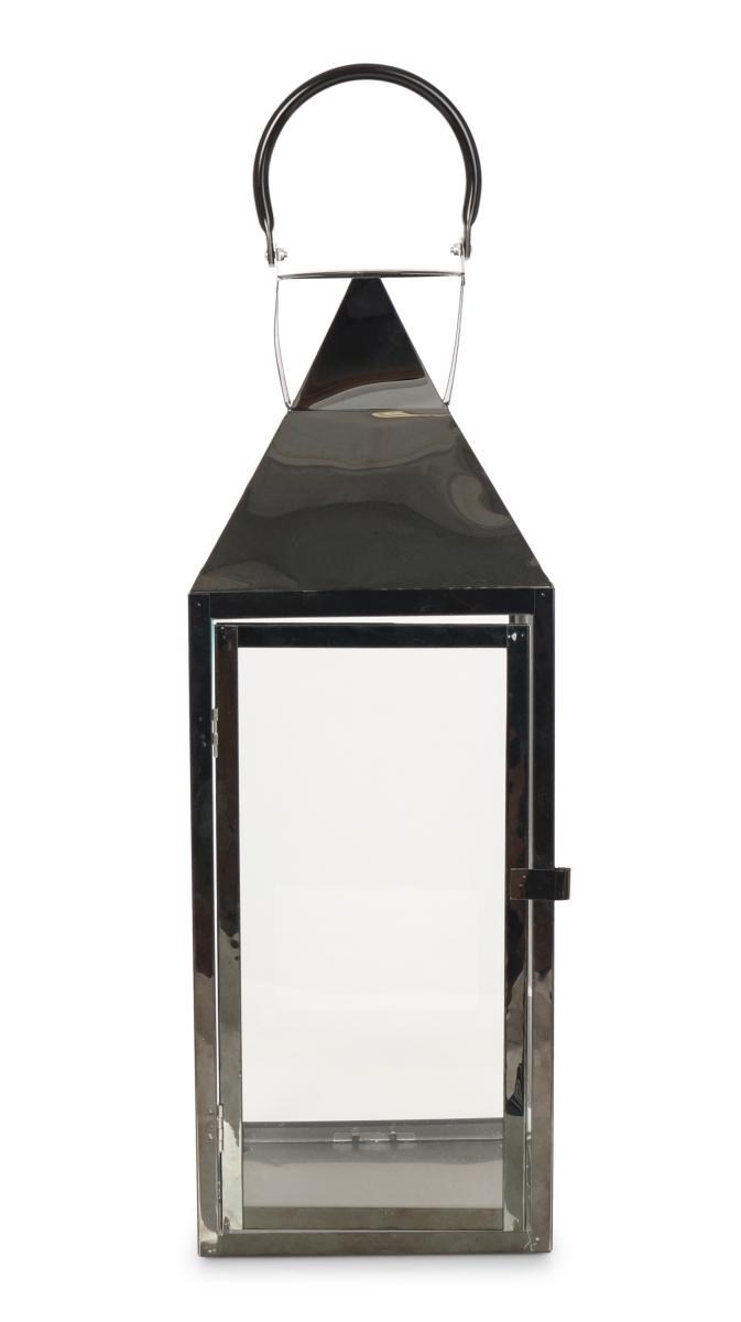 Nerezová lucerna v lesklé černé barvě se skleněnou výplní