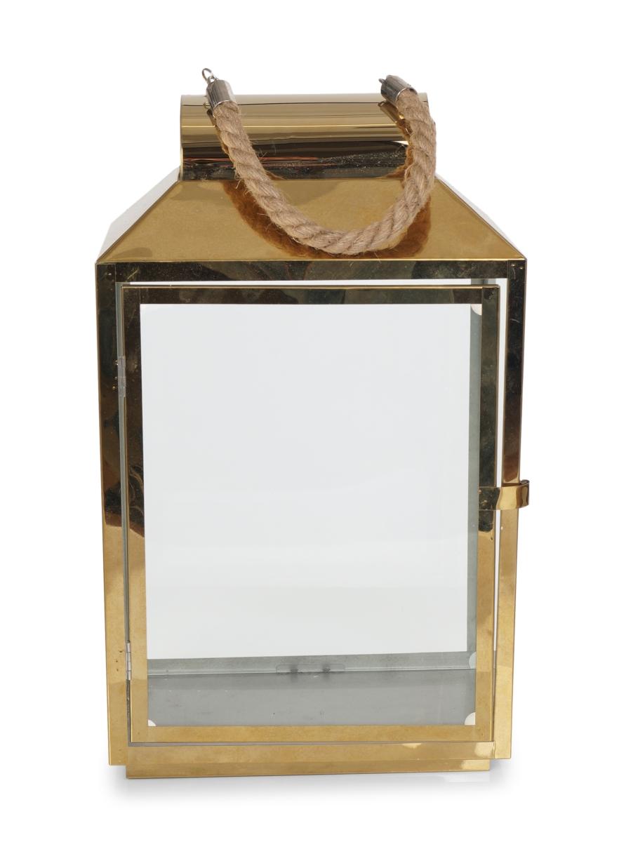 Nerezová lucerna ve zlaté barvě se skleněnou výplní