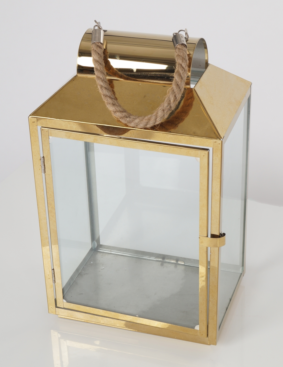 FC183012-Nerezová lampáš v zlatej farbe so sklenenou výplňou