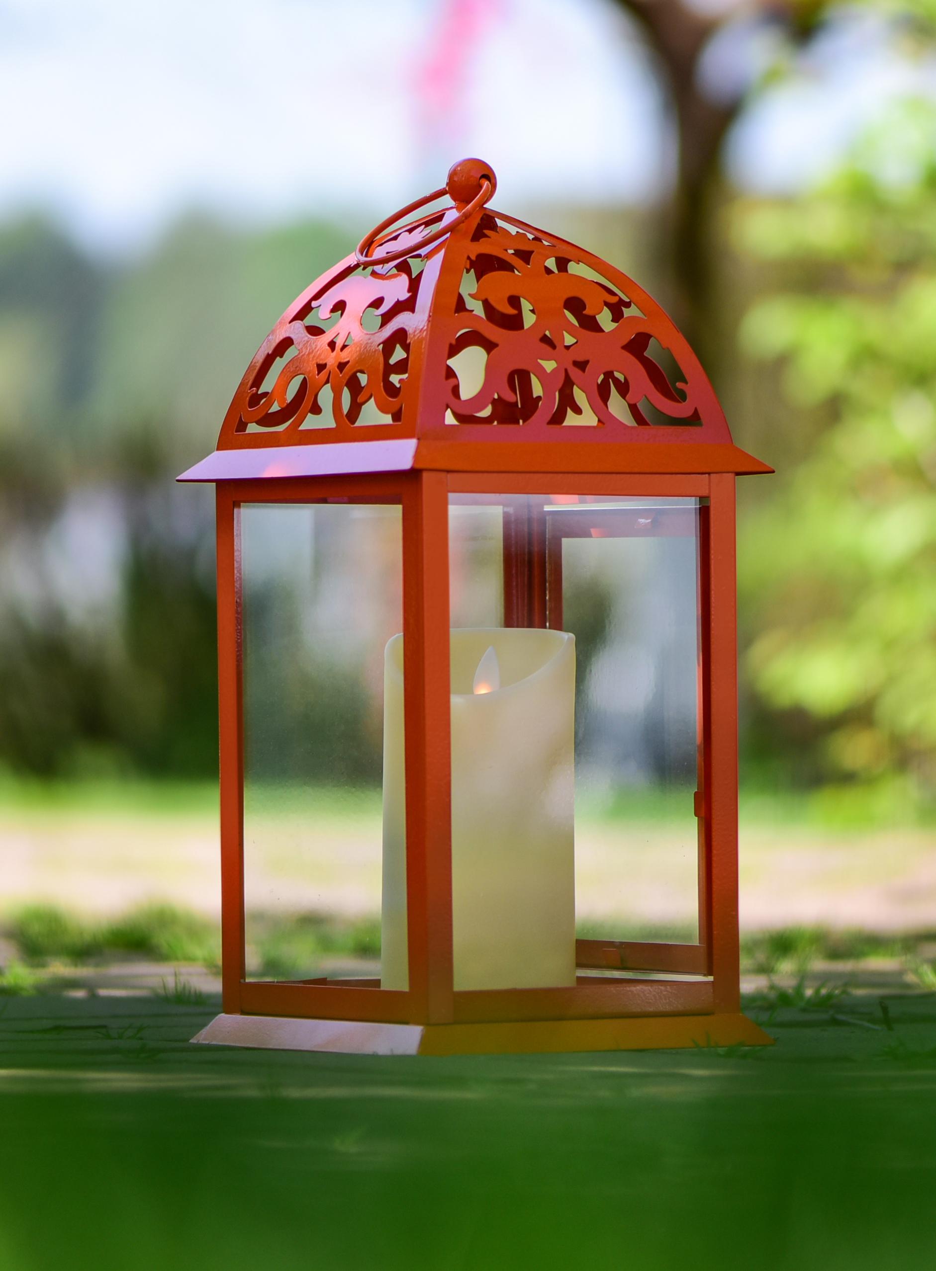 Kovová lucerna jasně oranžová 16,5 x 16,5 x 35 cm