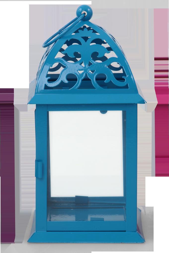DA746241-Kovová lucerna modrá 16,5 x 16,5 x 35 cm