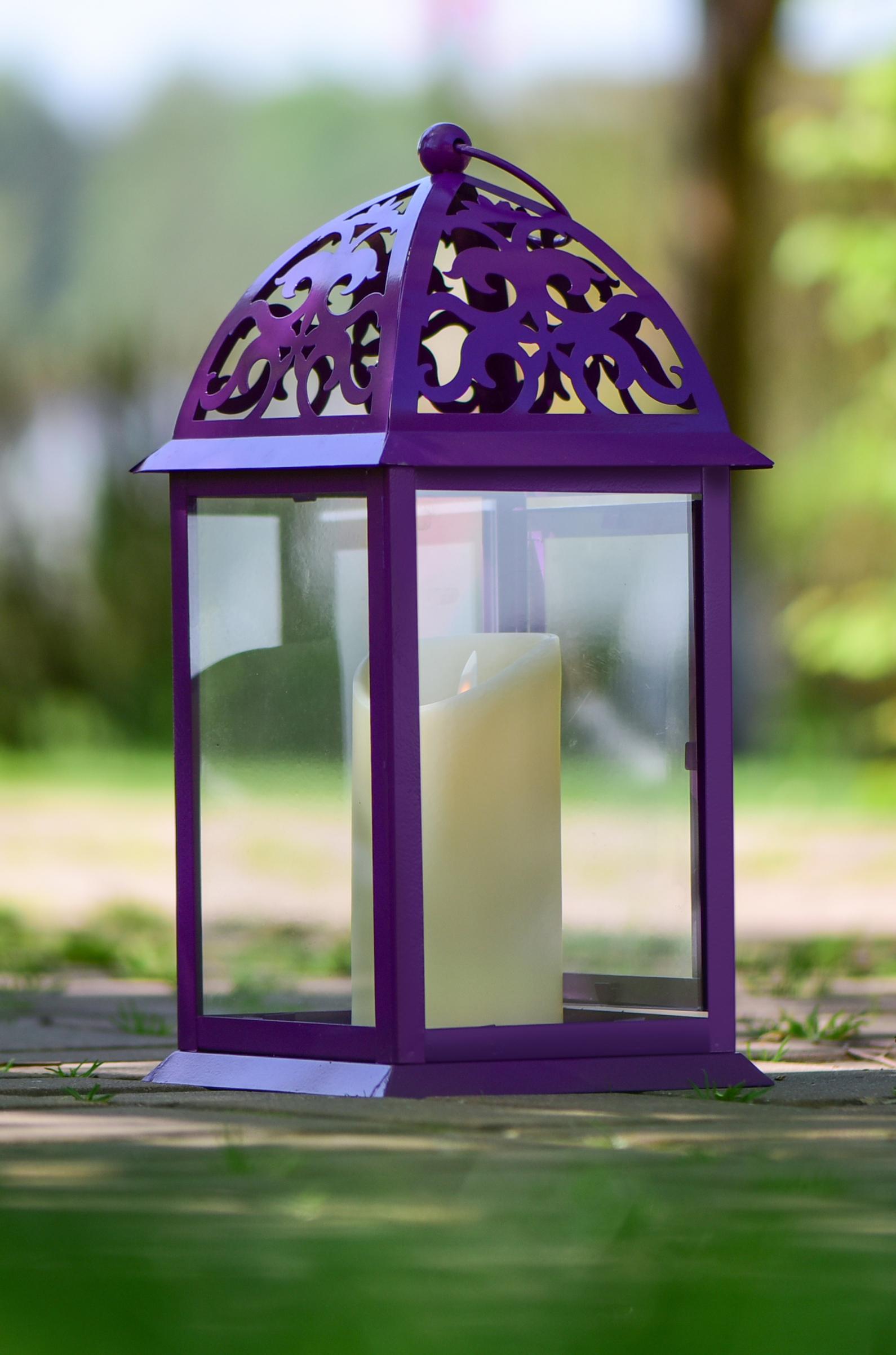 Kovová lucerna fialová 16,5 x 16,5 x 35 cm