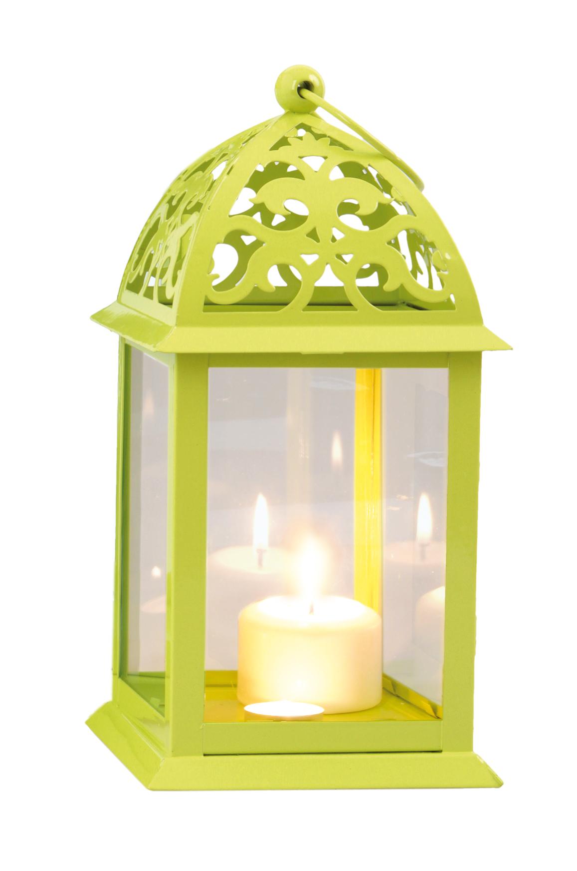 DA746211-Kovová lampáš jasne zelená 16,5 x 16,5 x 35 cm