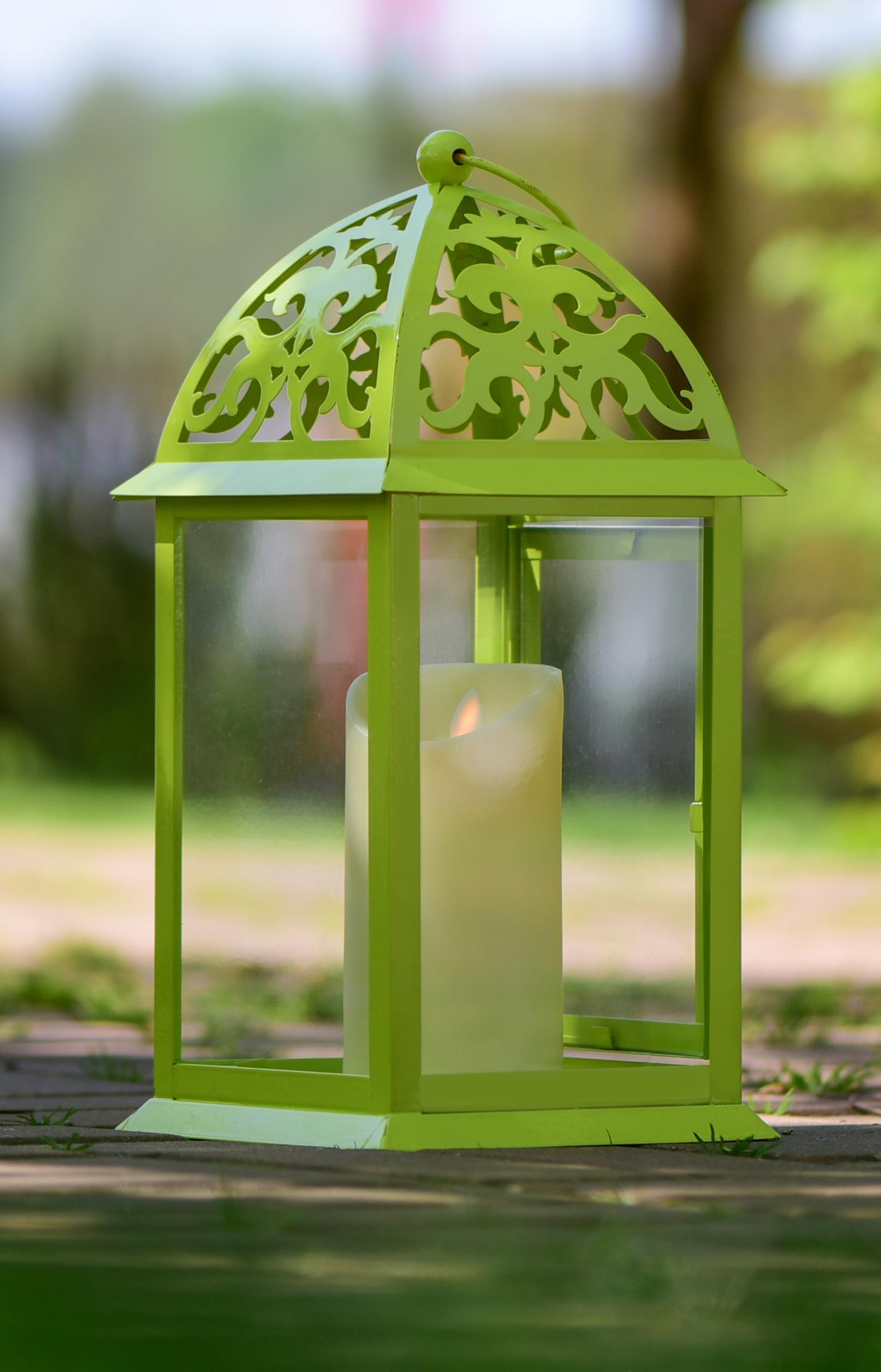 Kovová lucerna, 35 cm jasně zelená  16,5 x 16,5 x 35 cm