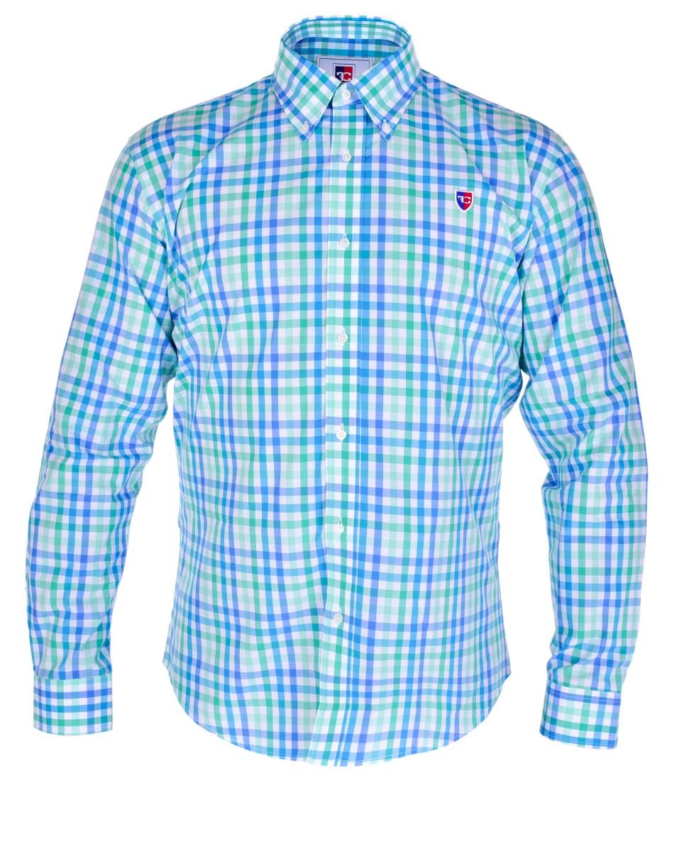 KENT košile slim fit s dlouhým rukávem  green & blue caro L