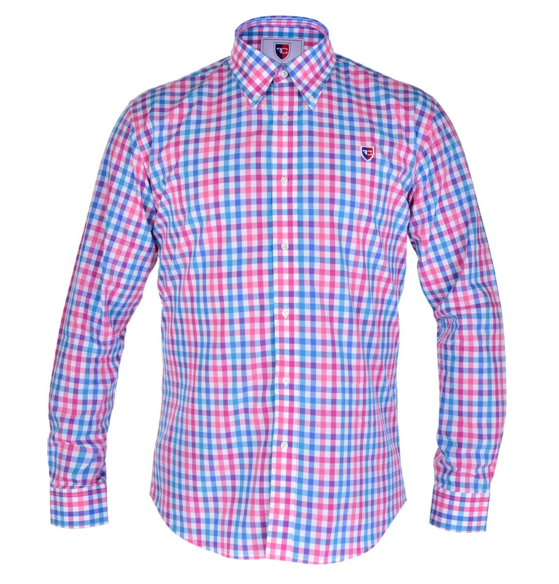 KENT košile slim fit s dlouhým rukávem  pink & blue caro L