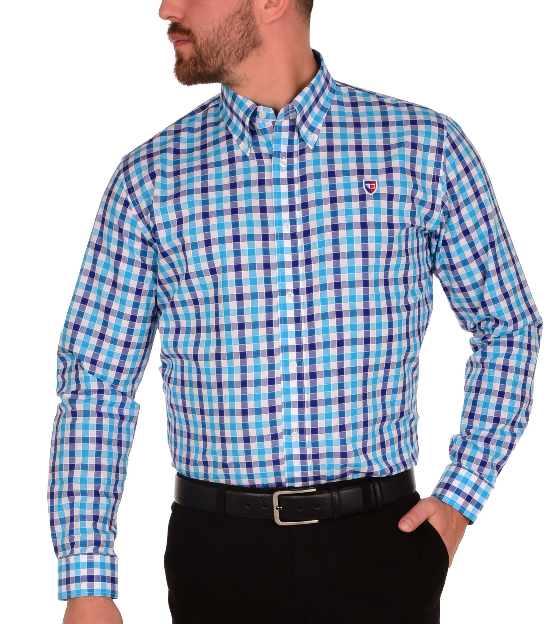 KENT košile slim fit s dlouhým rukávem  blue caro L