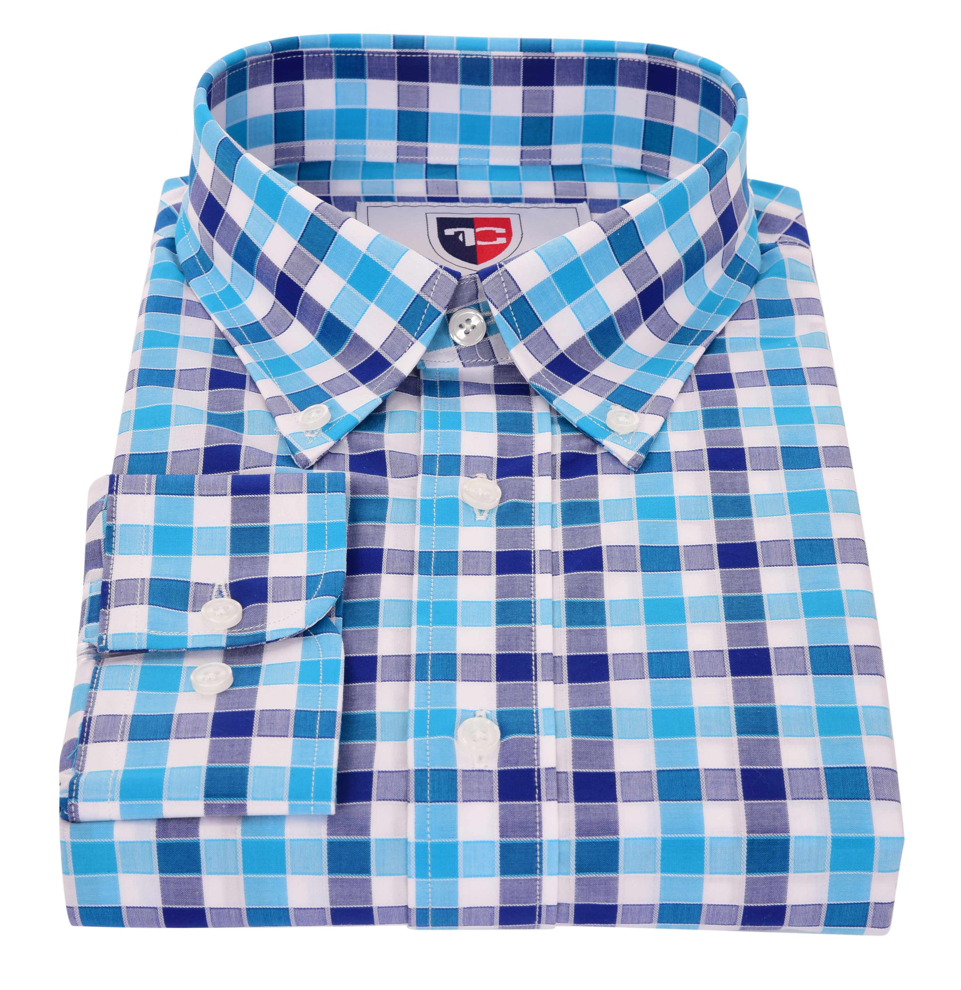 FC2209M-KENT košeľa slim fit s dlhým rukávom blue caro