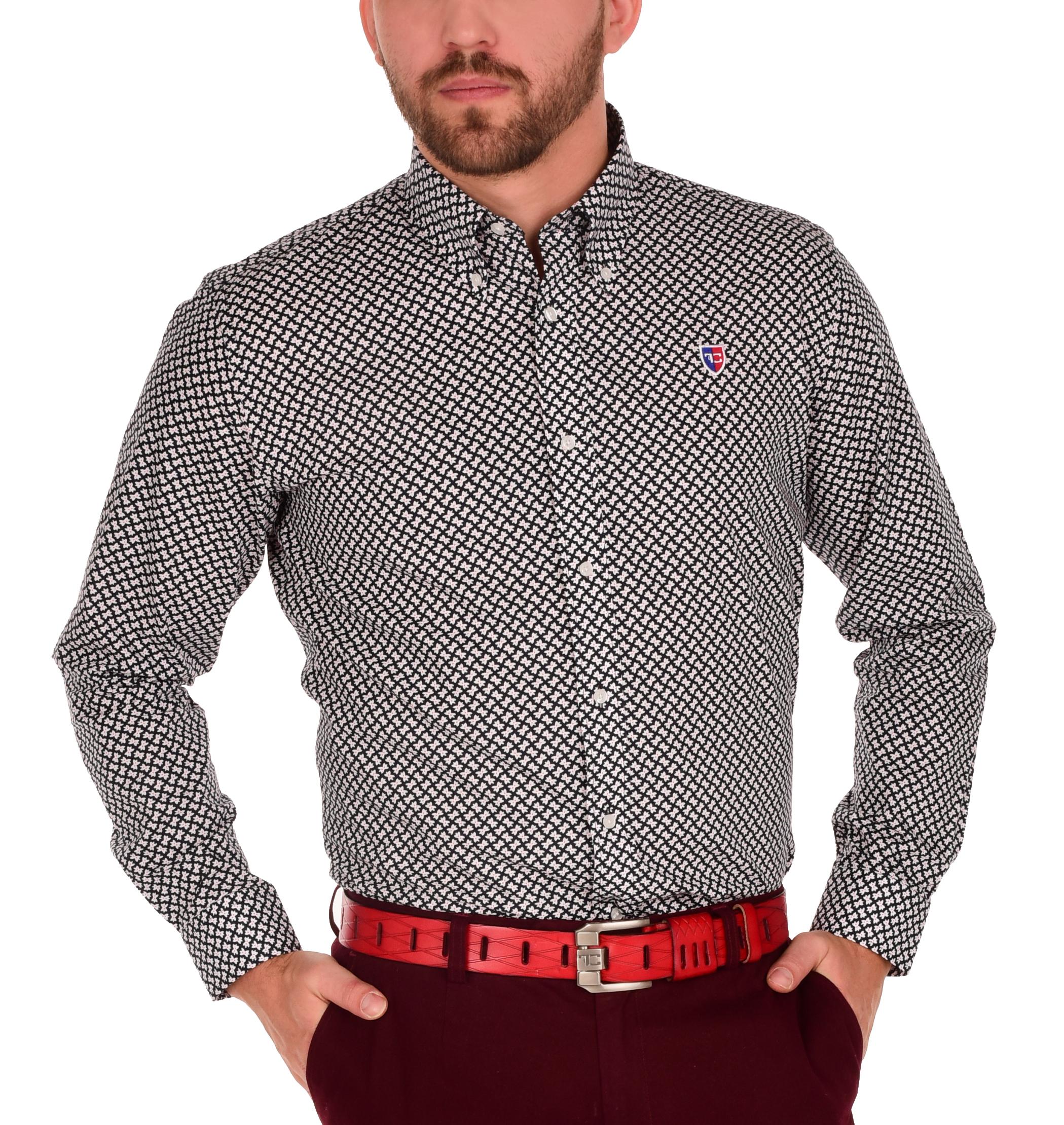 KENT košile slim fit s dlouhým rukávem  black & white L