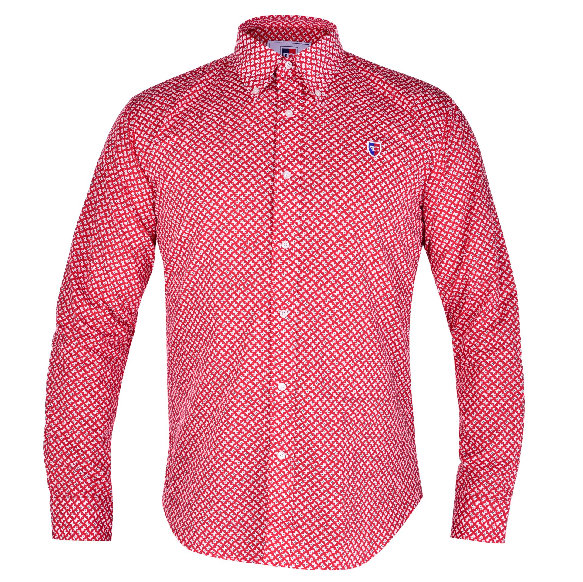 KENT košile slim fit s dlouhým rukávem  red & white L