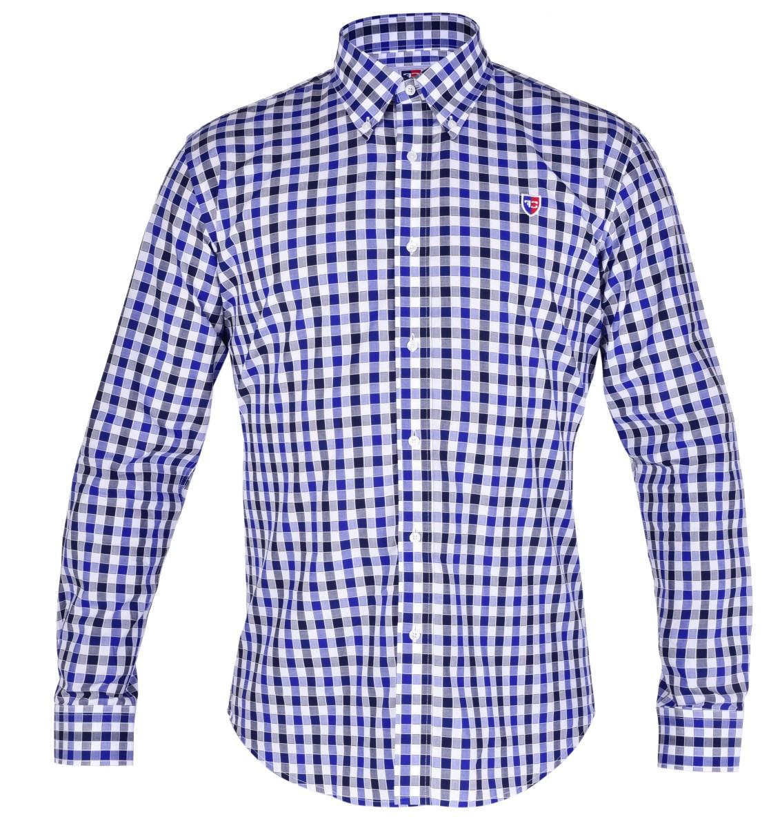 KENT košile slim fit s dlouhým rukávem  black & marine caro L