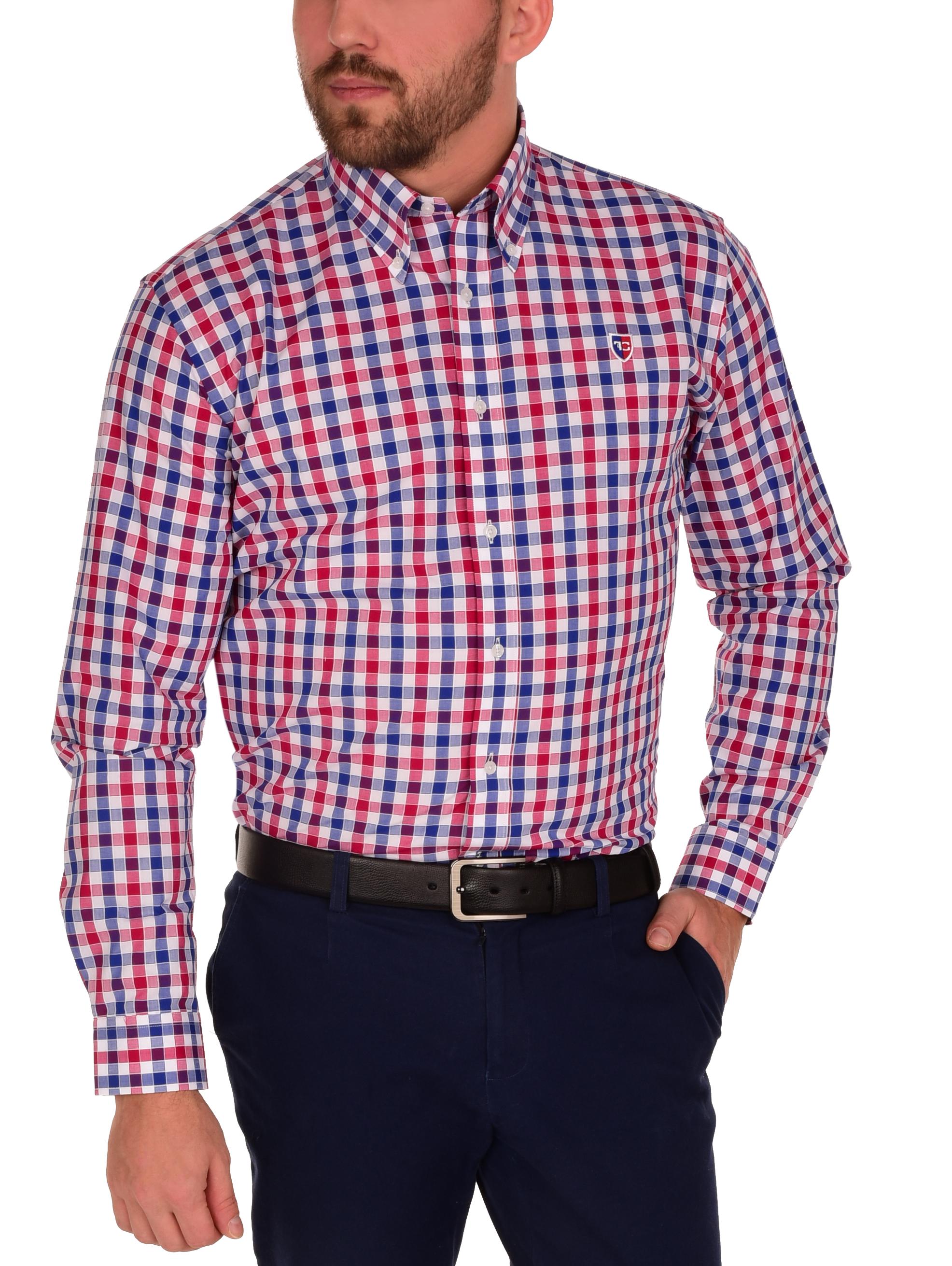 KENT košile slim fit s dlouhým rukávem  red & blue caro L