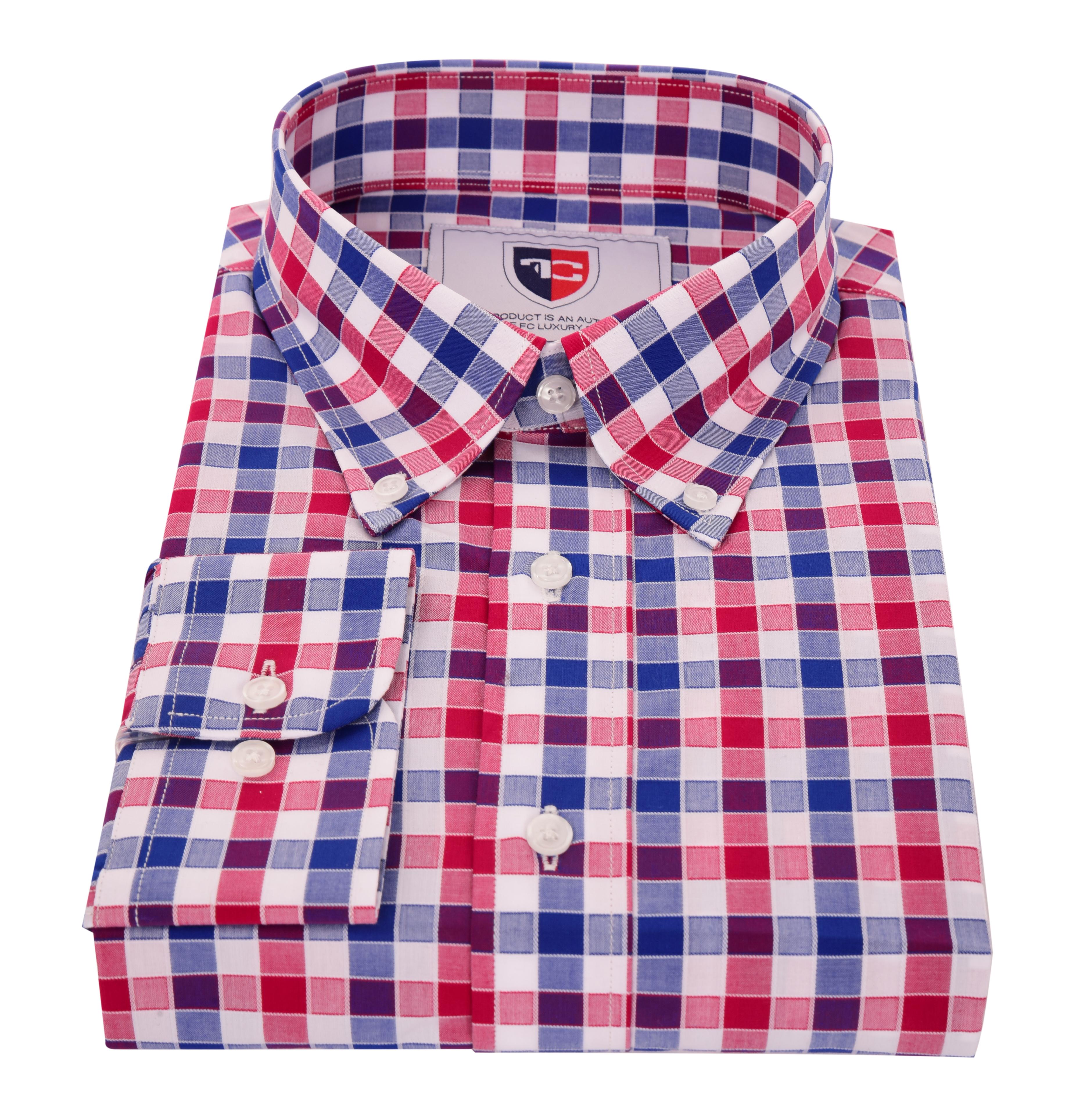 FC2213M-KENT košeľa slim fit s dlhým rukávom red & blue caro