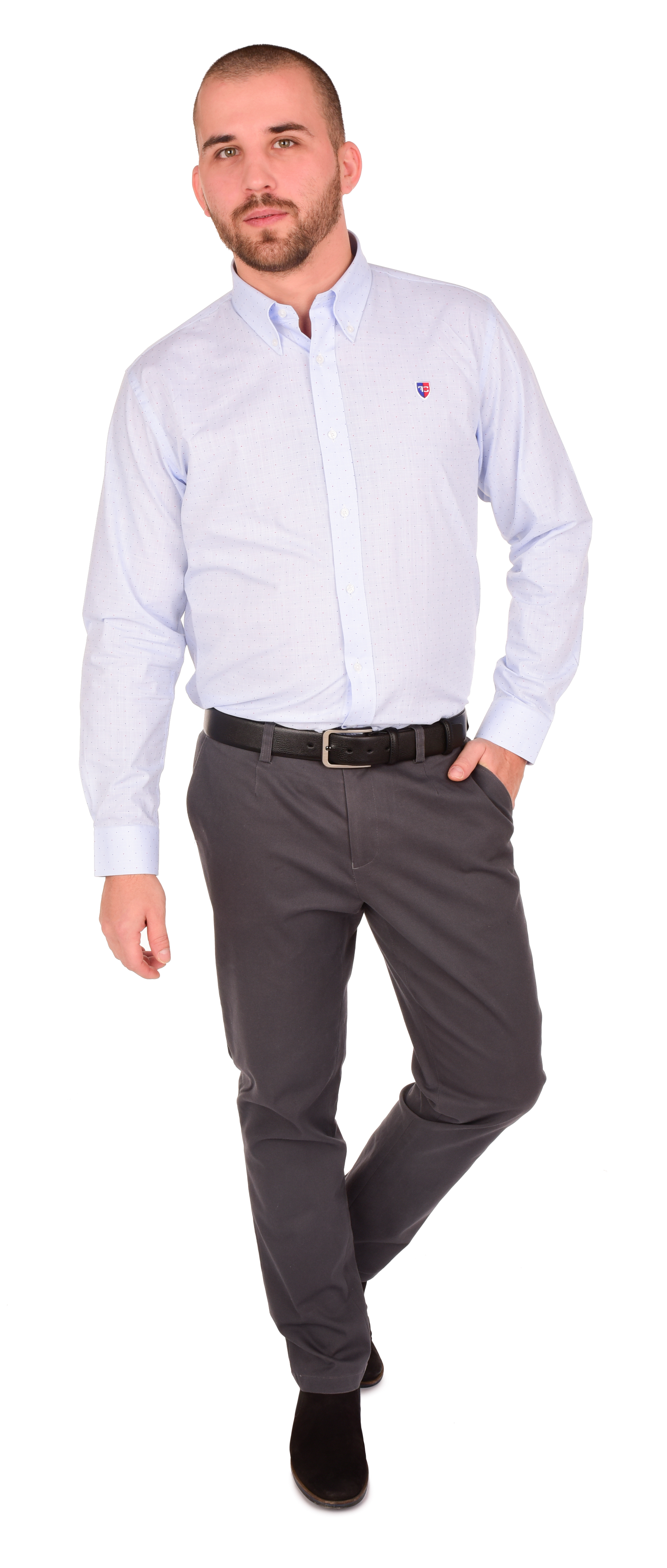FC2218M-KENT košeľa slim fit s dlhým rukávom light blue with dots