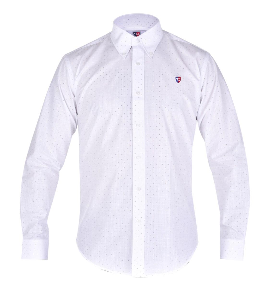 KENT košile slim fit s dlouhým rukávem white with dots L