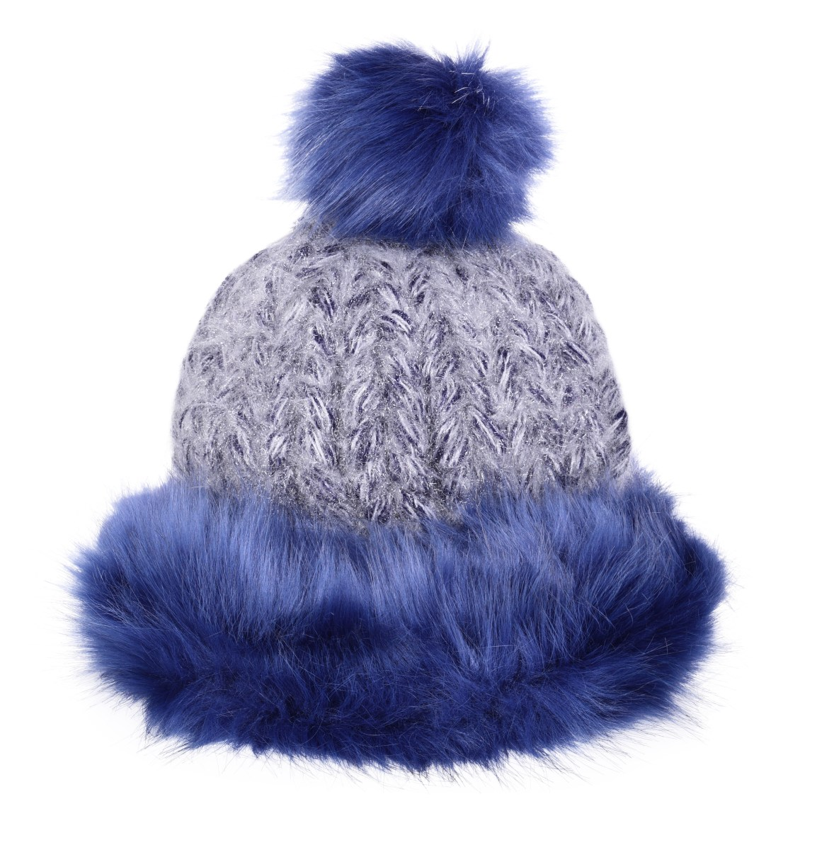 Ručně pletená čepice POLARIS frozen blue&grey