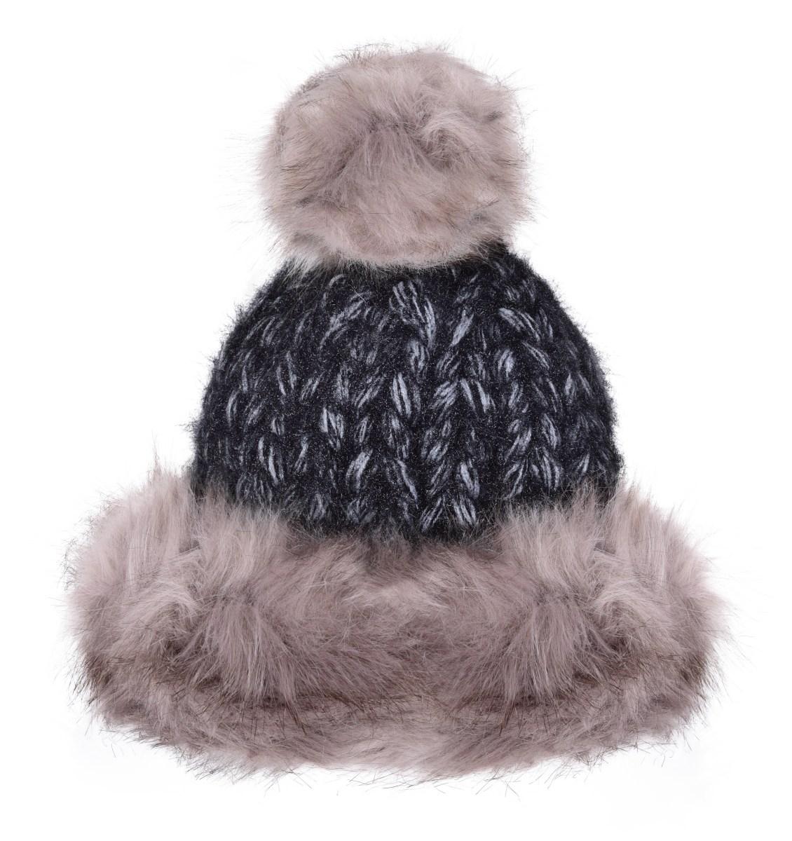 Ručně pletená čepice POLARIS frozen gray&black