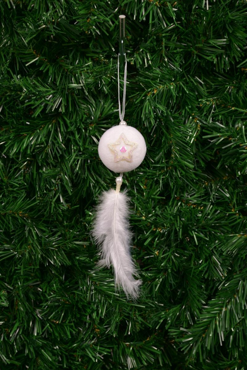 Bílá koule, se sametovým povrchem 20 cm