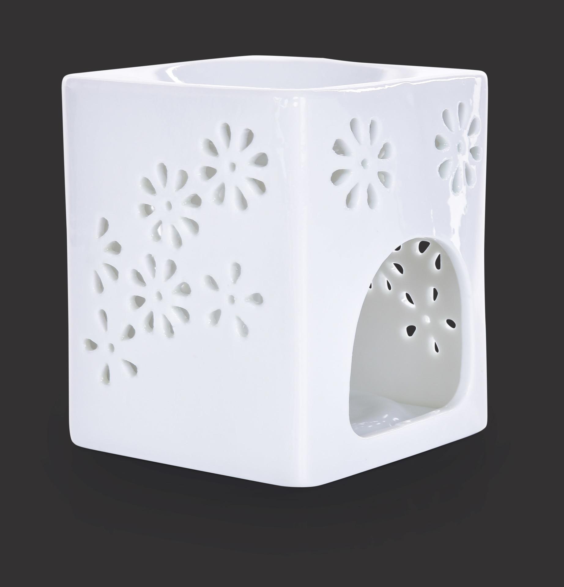 Keramická aromalampa na čajové svíčky s lesklou bílou glazurou