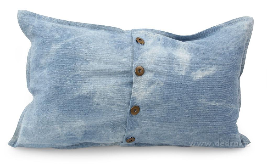 Potah na polštář, jeans - s lesklou