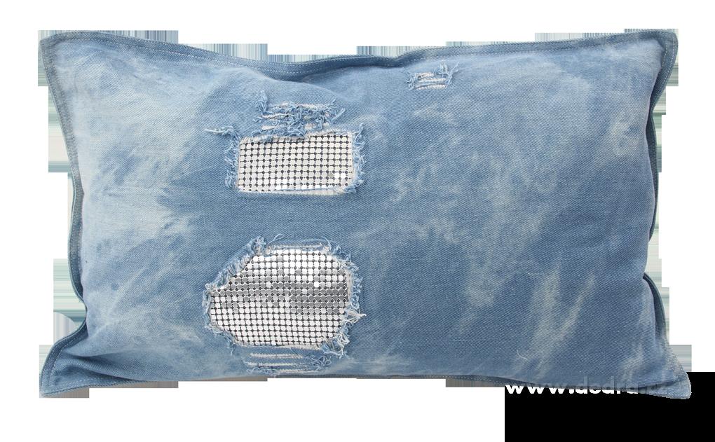 Potah na polštář jeans - s lesklou kovovou aplikací