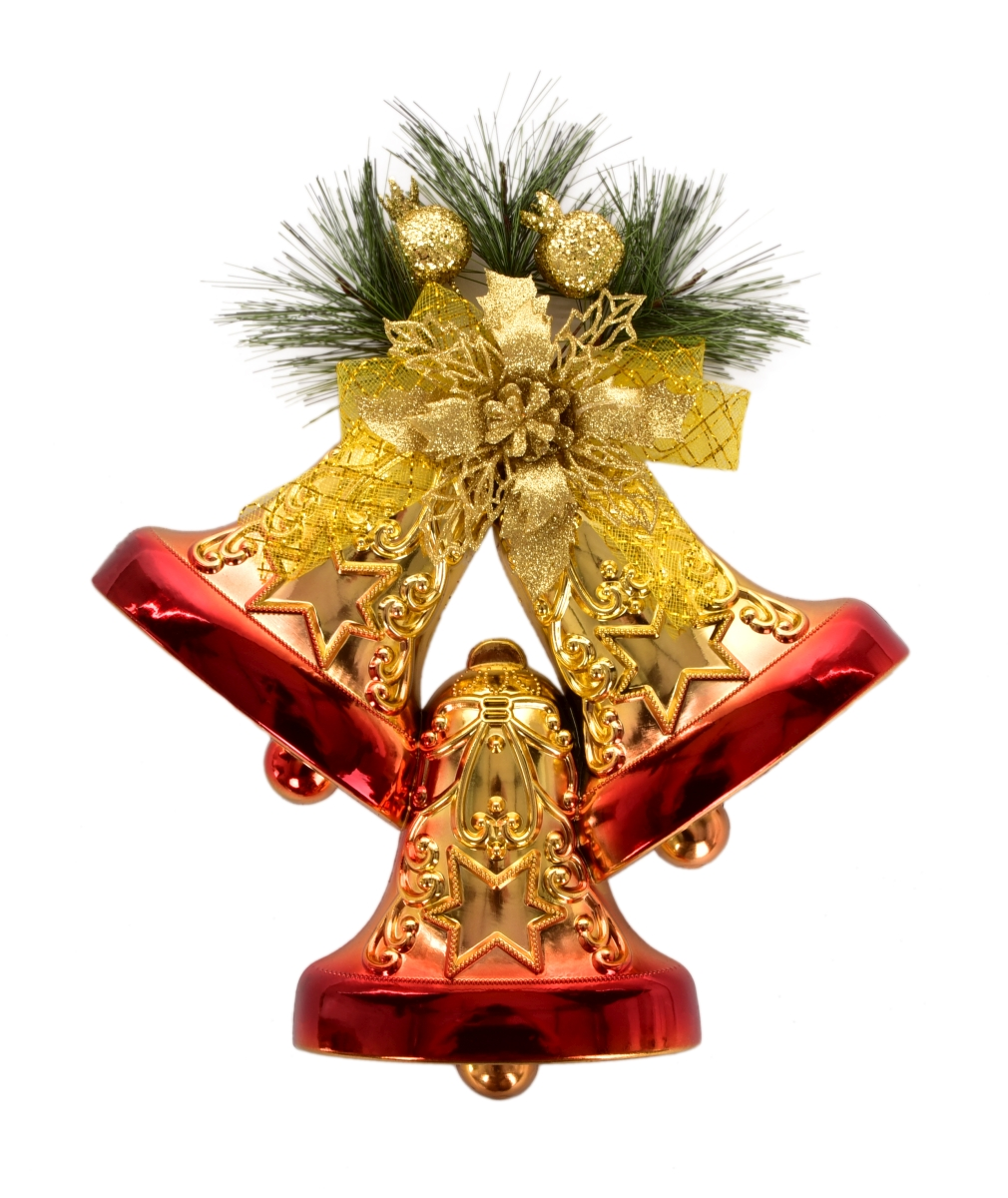 XL závěsná dekorace zlato červená ve tvaru tří zvonků