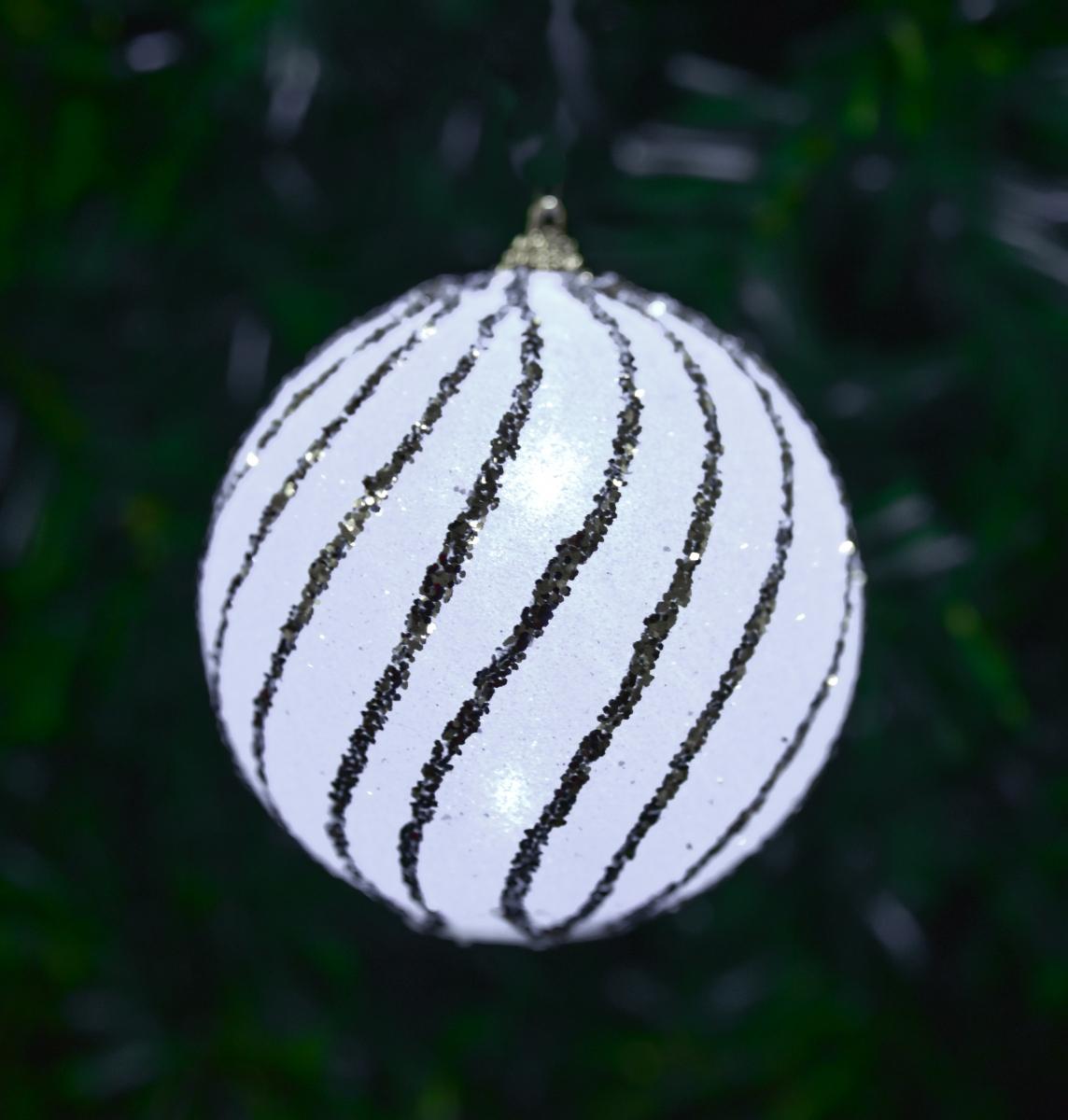 XL svítící LED koule, se stříbrným lemováním 9,5 cm