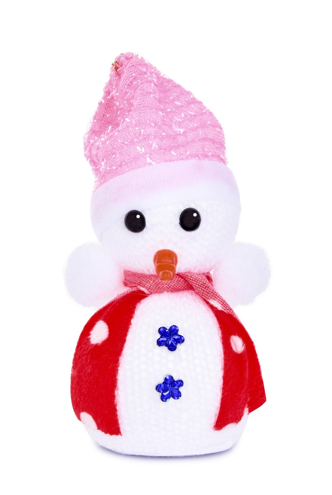 Závěsný pletený sněhulák s čepičkou a šálkou