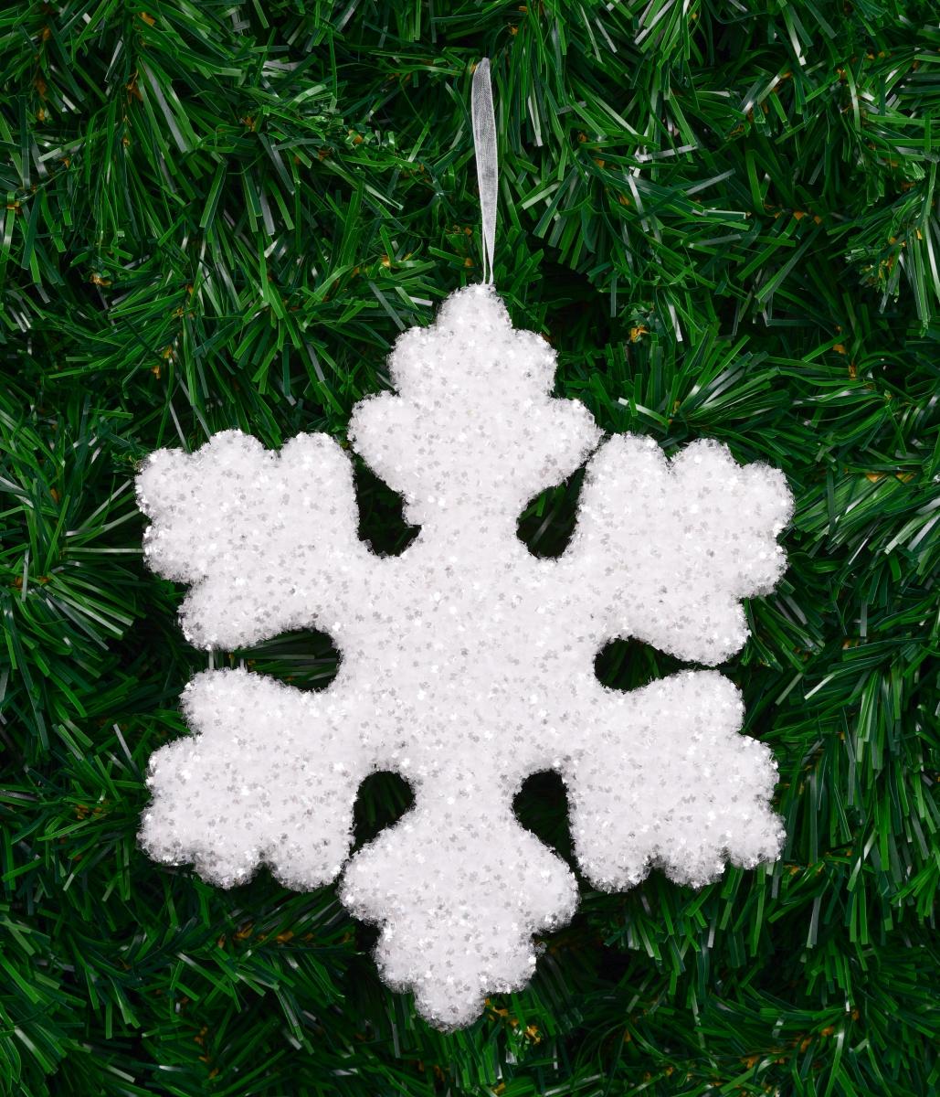 21 cm velká sněhově bílá vločka s třpytivými lametkami, na okno, nad stůl, do prostoru