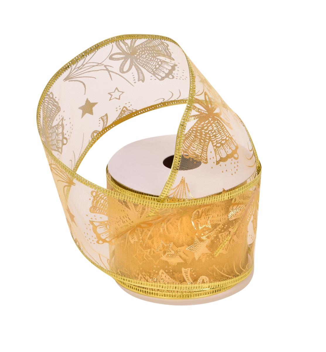 Dárková dekorační síťovaná stuha zlatá se zvonky s ozdobným motivem
