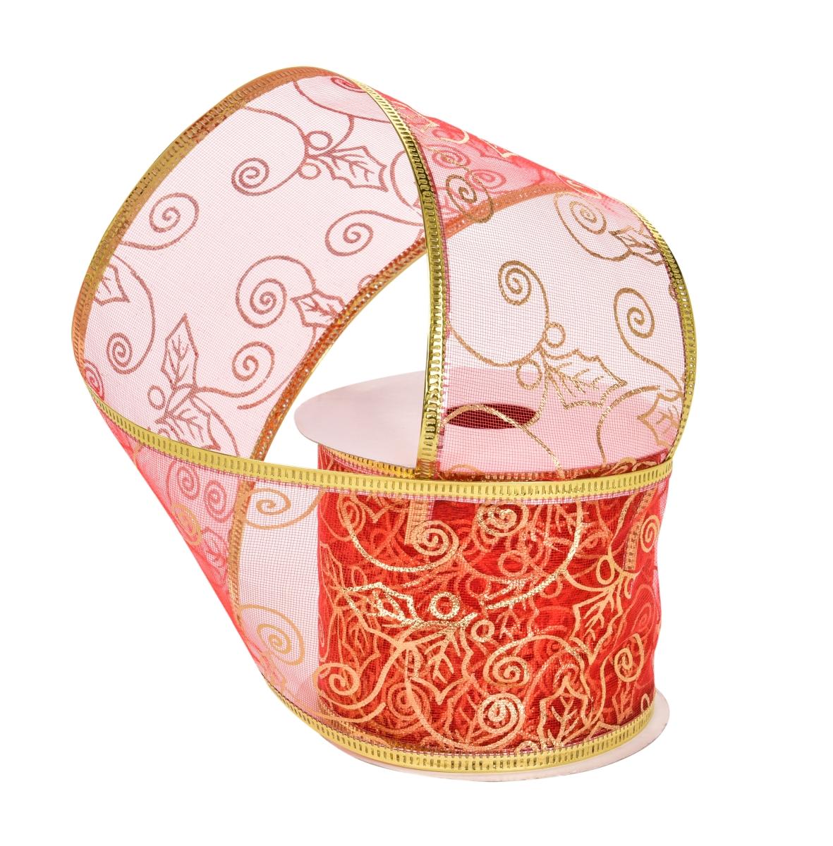 Dárková dekorační síťovaná stuha červená se zlatými ornamenty s ozdobným motivem