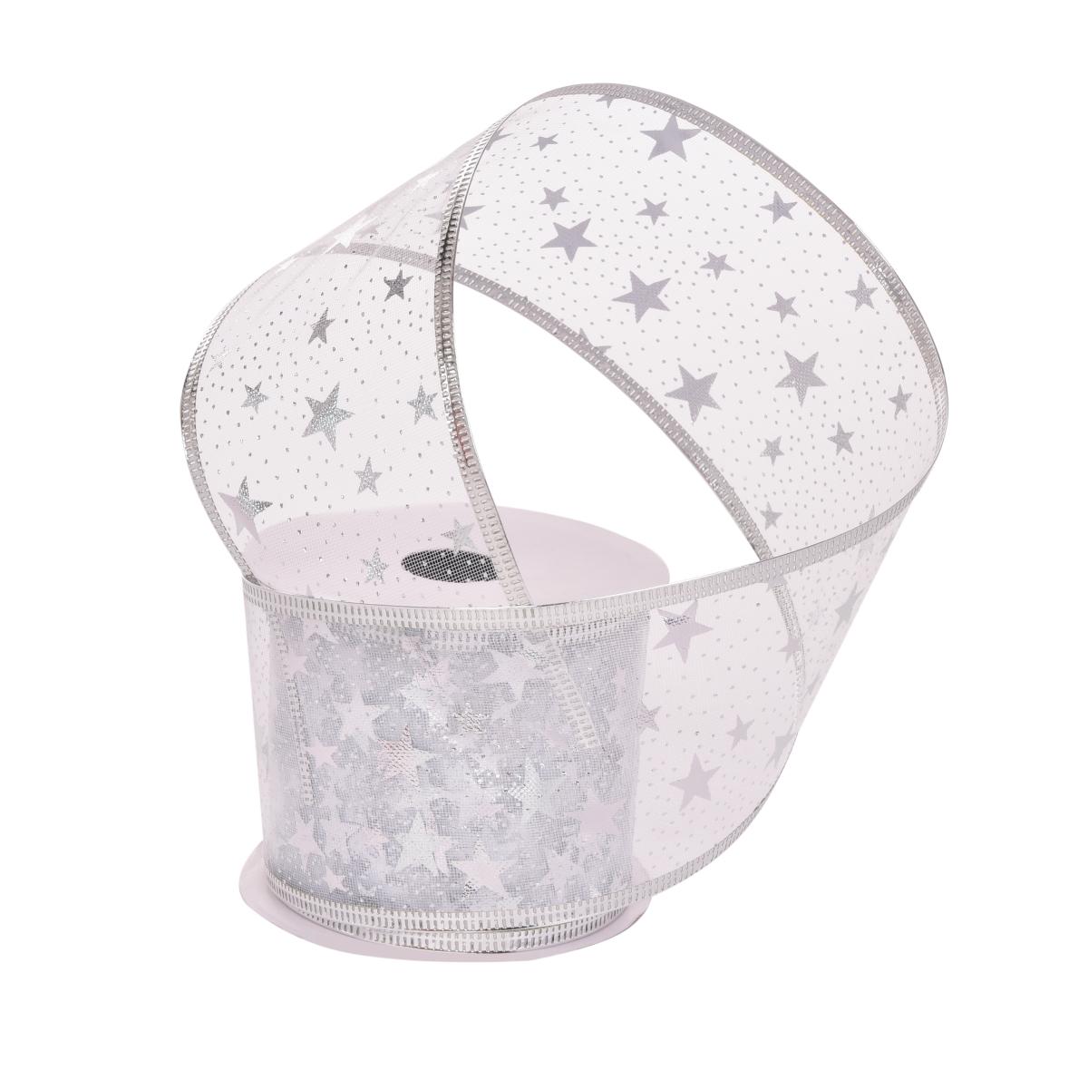Dárková dekorační síťovaná stuha  stříbrná s hvězdami