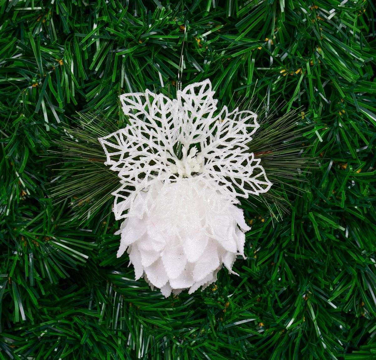 Ozdobné bílé poupě lotosu třpytivé se zelenou větvičkou 15 cm