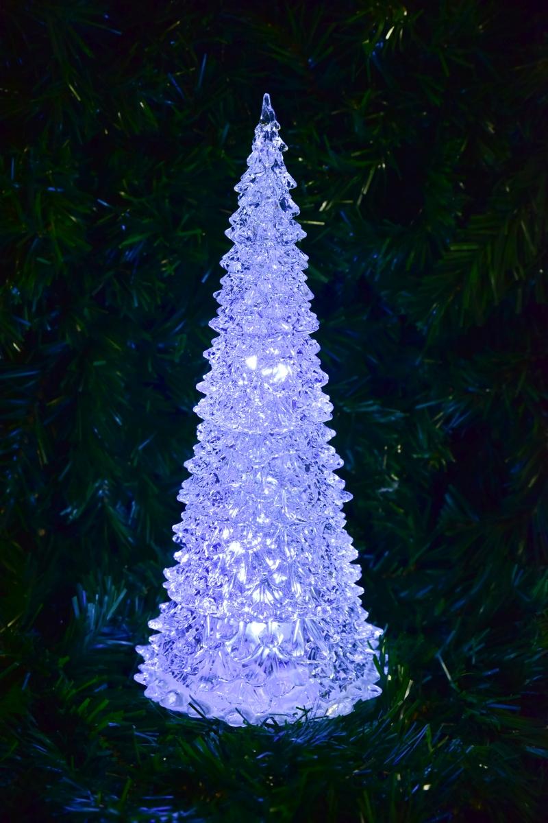 32 cm svítící LED stromek vánoční  z průhledného plastu