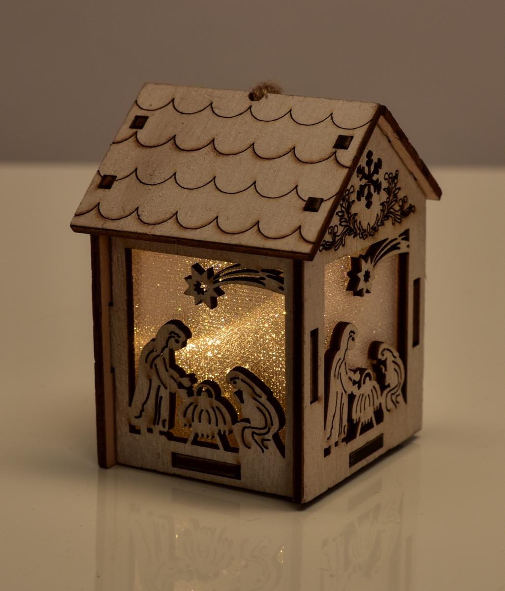 Dřevěný domek, s motivy betléma
