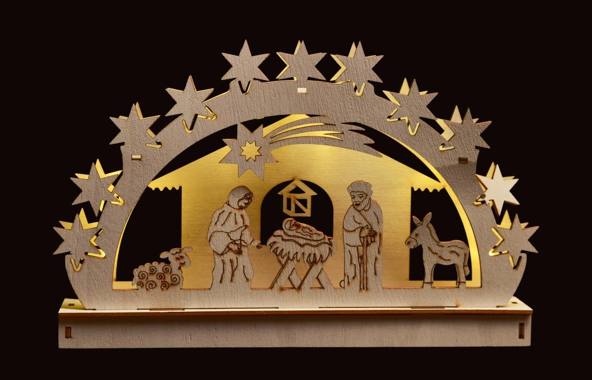 28 cm Betlém s LED osvětlením  dřevěný