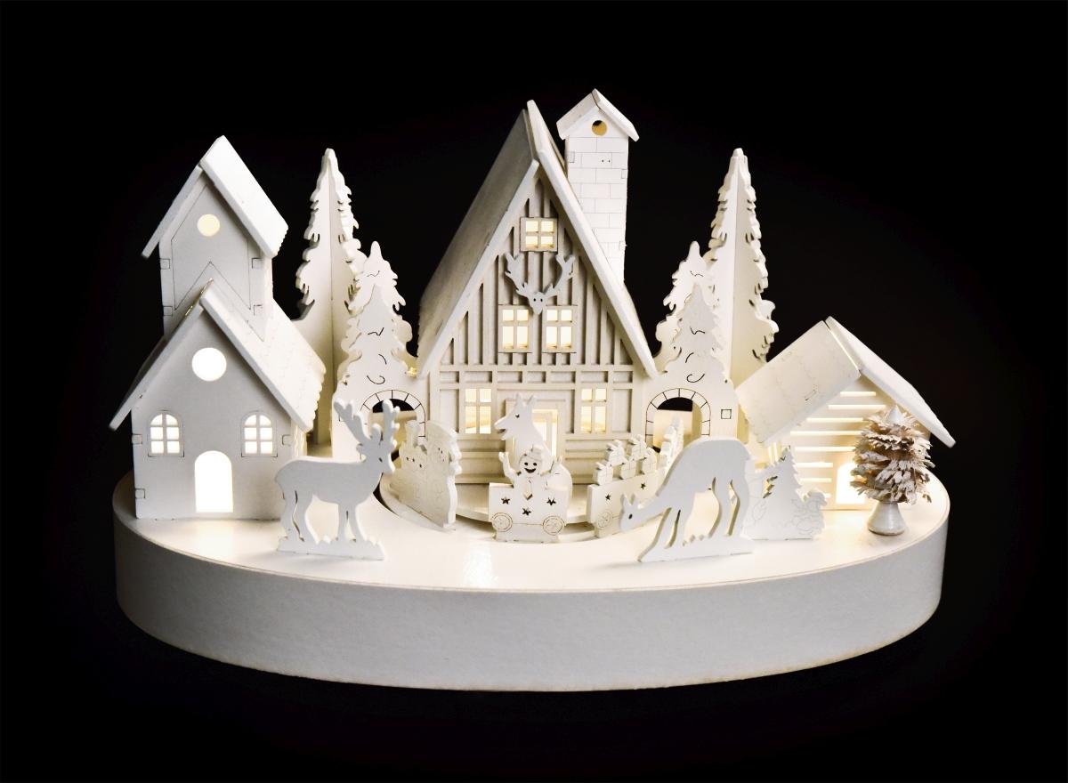 27 cm Zimní vesnička s jezdícím vláčkem hrající melodie